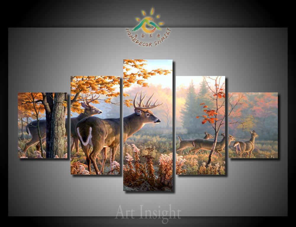 5 unids/set venado HD imprimir lienzo pintura arte de la pared para ...