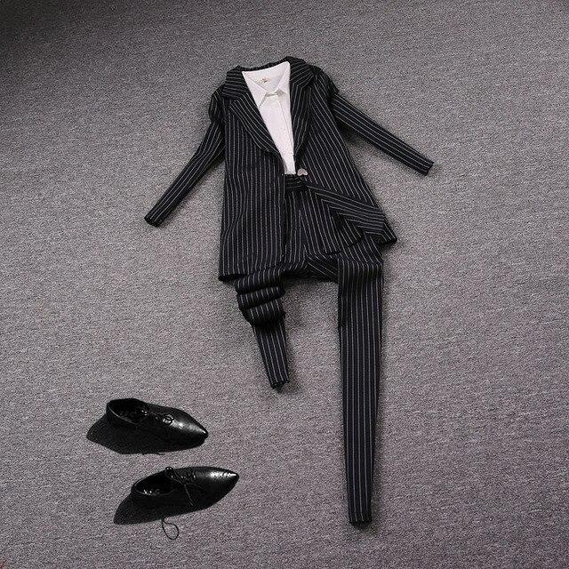 Outono moda de nova listrado temperamento terno dois conjuntos de ternos das senhoras Europa carga profissional tide-do699