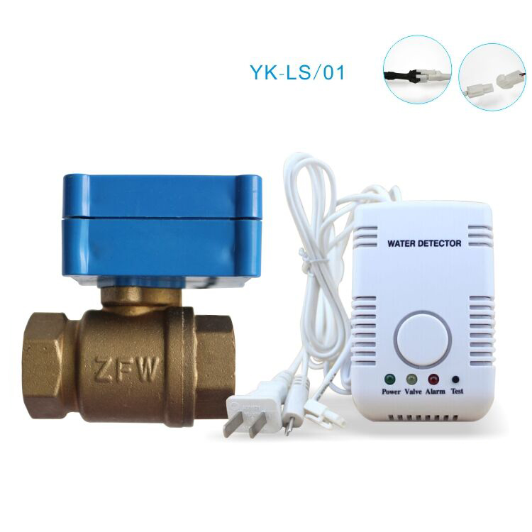 Smart Home Water Alarm Detector Russian Water Leak Sensor Alarm System with Water Probe and Motorized Valve Auto Shut Off high quality electronic water leak detector with 1 2 valve and 2pcs 6m sensor wires retail or wholesale drop shipping