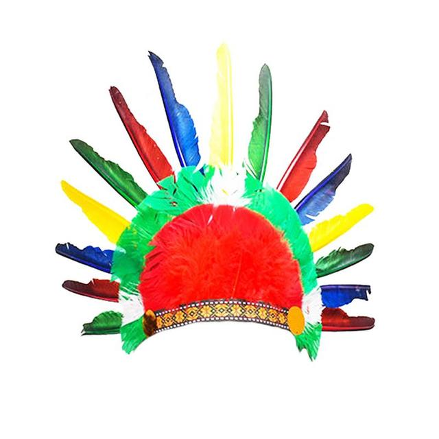 Color Feather Headdress Indian Headwear Chieftain Hat Thanksgiving Childrens Day Dance Dress Up Cosplay Decor Feather Hat