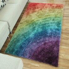 Pastoral de estilo europeo del arco iris cama mesita alfombra de la sala dormitorio completo borde alfombra tatami personalizable flota