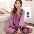 Mulheres de Seda de Cetim Conjuntos de Pijama Das Senhoras Sleepwear Nightwear Ternos Calças de Renda Bordado Para A Primavera Verão Roxo M-3XL