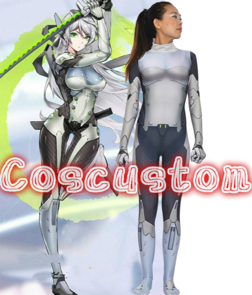 Coscustom High Quality OW female Genji Costume 3D Printed Spandex Lycra Suit Genderbend Genji Costume Halloween Cosplay Costume