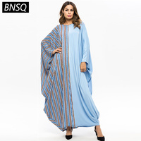 BNSQ Spring 2019 Striped Patchwork Loose Batwing Sleeve Maxi Dresses O neck Long Sleeve Large Size Casual Blue Dress Women New