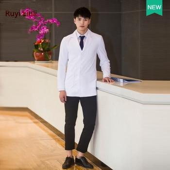 New fashionable slim men doctors wear white coats and long sleeves plastic surgeon doctor uniform