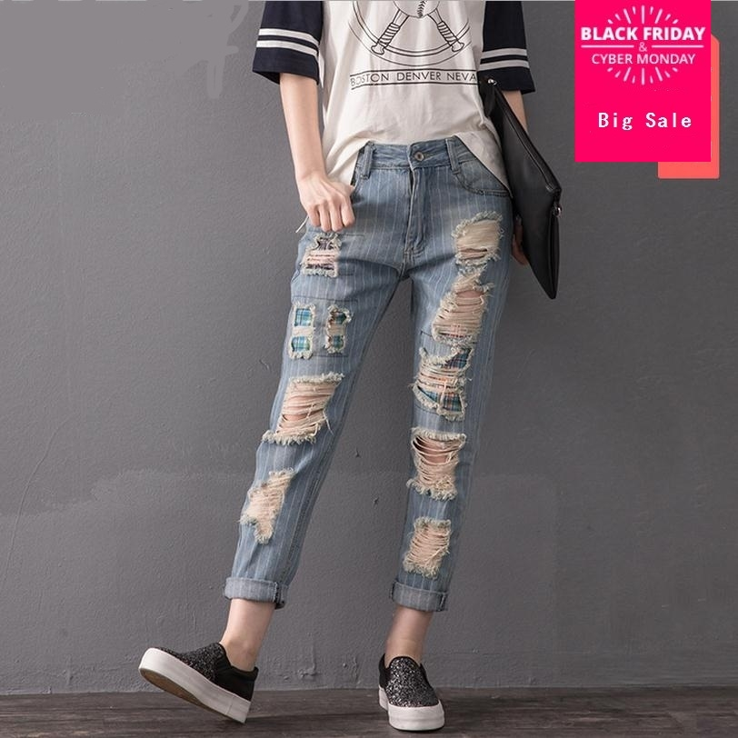 2XL-8XL  Plus Size Stripe Cotton Ankle-Length Pants 2019 New Fashion Women 's Stiching Bleached Hole Jeans W1497 Free Shipping