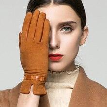 KLSS Luvas de Camurça Mulheres Outono Inverno Da Marca de Couro Genuíno Além de Veludo Moda Elegante Senhora Luva De Pele De Cabra Para A Condução 96