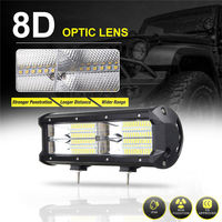 Car LED Lights Work Light LED Lamp 12V 24V 7inch 12000LM 8D LED Work Light Bar
