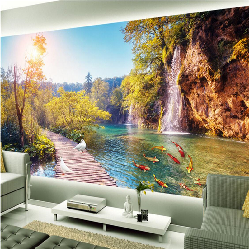 Beibehang wallpaper 3d fresco wall sticker hd 3d outdoor for 3d nature wallpaper for wall