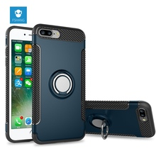 FSHANG Luxury Shockproof Cases for iPhone 7 8 Plus Case Metal 360 Finger Ring Holder Car Combo Phone Cover for iPhone 8 7Plus