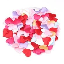 100 adet DIY Kalp yaprakları düğün süslemeleri Saten Kalp Şekilli Kumaş Yapay çiçek yaprakları Büyük parti dekor malzemeleri