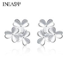 Earrings Silver Plated For Women Clover Shape Trendy Best Gift Stud Earrings Everyday Wear Jewelry Ladies Party Casual Earrings