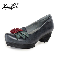 Xiangban leather pointed heels womens pumps retro flower handmade platform shoes women shallow mouth