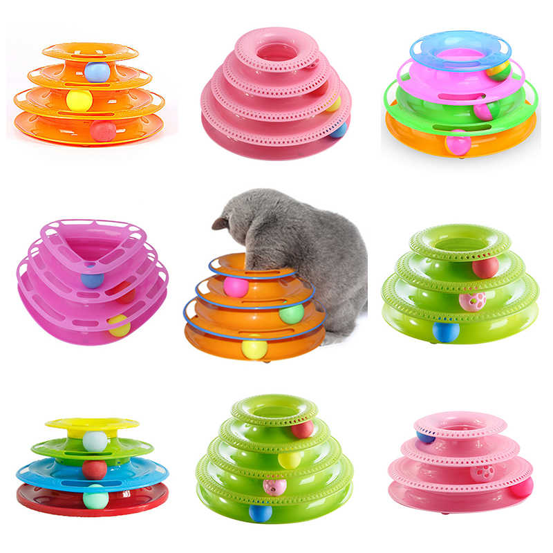 Trilaminar Pet Toys Cat Track Ball Dish Funny Disk Interactive Amusement Plate Cat Toy Game Play Disc Turntable Toy Cat Supplies