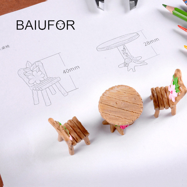 BAIUFOR Mini Home furniture Table and Chair Fairy Garden Miniatures Terrarium Figurines Doll House Decor Doll House Accessories 2