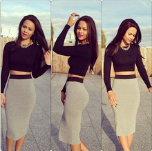 New Ladies Womens Bodycon Celebrity Long Sleeve Sexy Club Sets 2 Pieces Bare Midriff T-shirt Crop Tops Mid-length Skirt