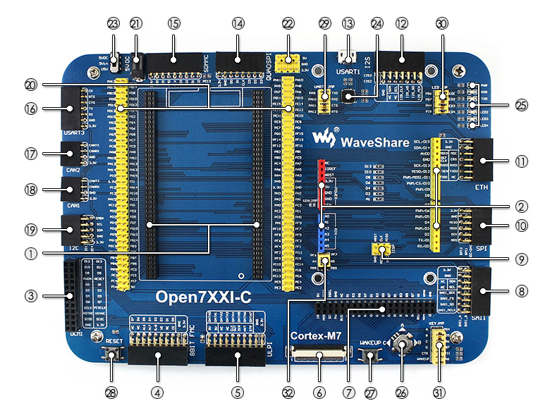 Waveshare STM32 Development Board Open746I C Mother Board for STM32F746I  MCU STM32F746IGT6 with Various Standard Interfaces-in Demo Board from