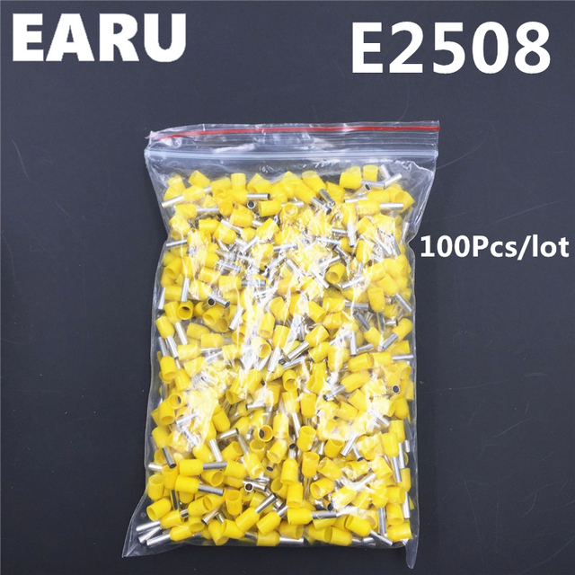 100 Stücke E2508 Rohr Isolierende Isoliert Terminal 2.5MM2 14AWG ...