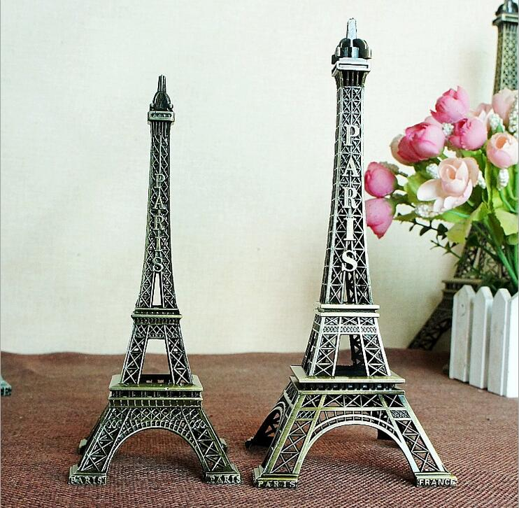 Pure Metal 15-18-25cm Håndværk Eiffel Tower Building Ornaments Souvenir Home Decors Figur Statue Model med Paris Tower Logo