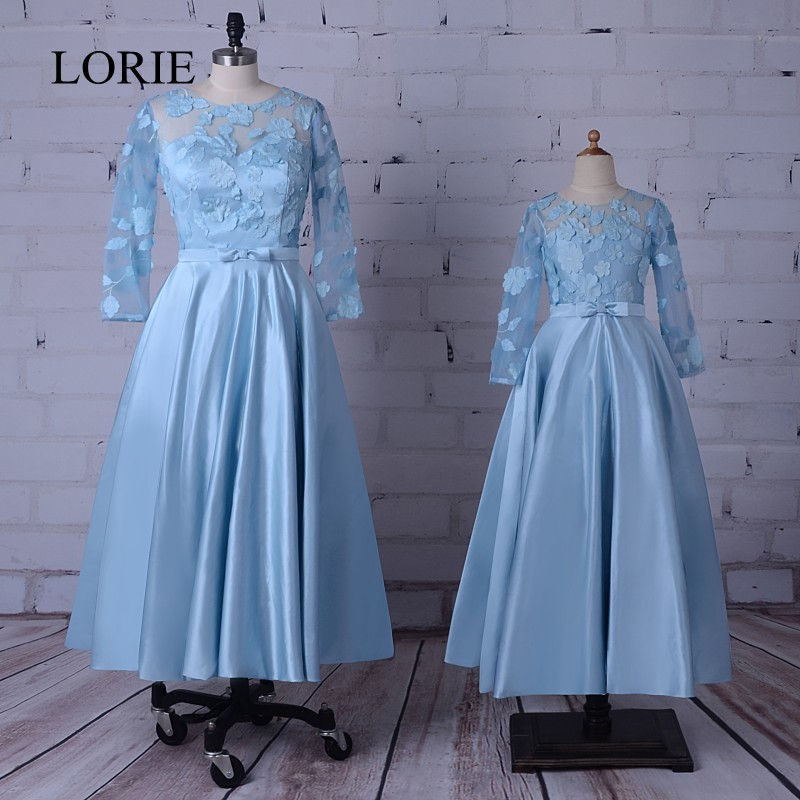 Modest   Evening     Dresses   For Mother And Daughter 2017 Robe De Soiree Tea Length Prom   Dresses   For Wedding Party Flowers 3/4 Sleeves