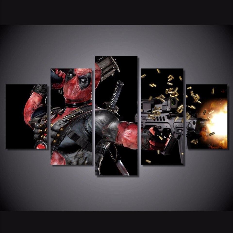 5 Teile/satz Gerahmte HD Gedruckt Deadpool Maske Gun Film Bild ...