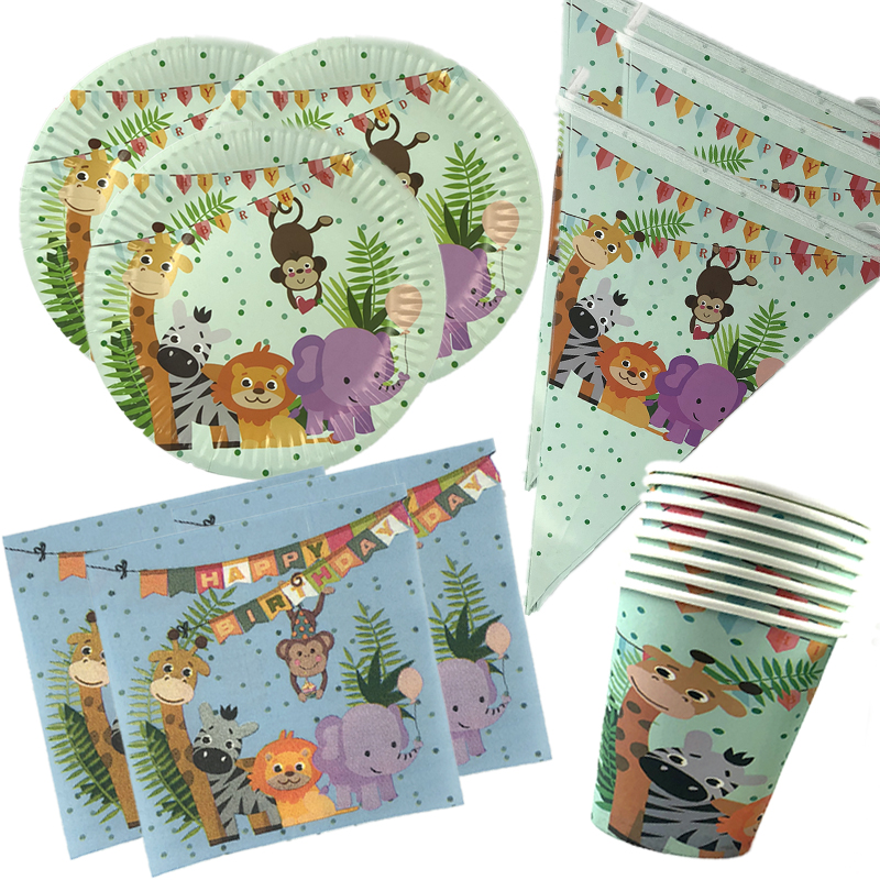 Jungle Party Decoration Birthday Party Disposable Tableware Set Jungle Animal Disposable Plates Cups Napkins For Kid Party in Disposable Party Tableware from Home Garden