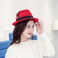 South Korea autumn style jazz feather fashion bar performance cap Fedoras hat