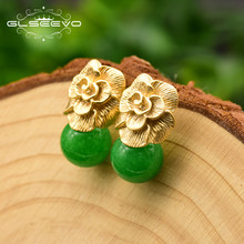 GLSEEVO 925 Sterling Silver Ear Pin Natural Round Jade Drop Earrings For Women Plant Leaves Wedding Earrings Jewellery GE0336B(China)