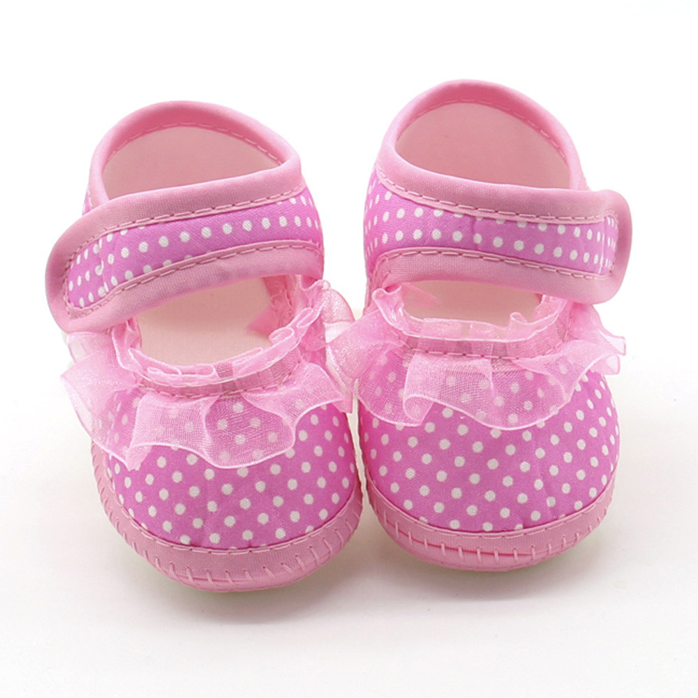 Mother & Kids First Walkers Well-Educated Newborn Toddler Shoes Baby Girl First Walker Small Dot Elastic Band Canvas Casual Shoes New Baby Soft Bottom Non-slip Shoes