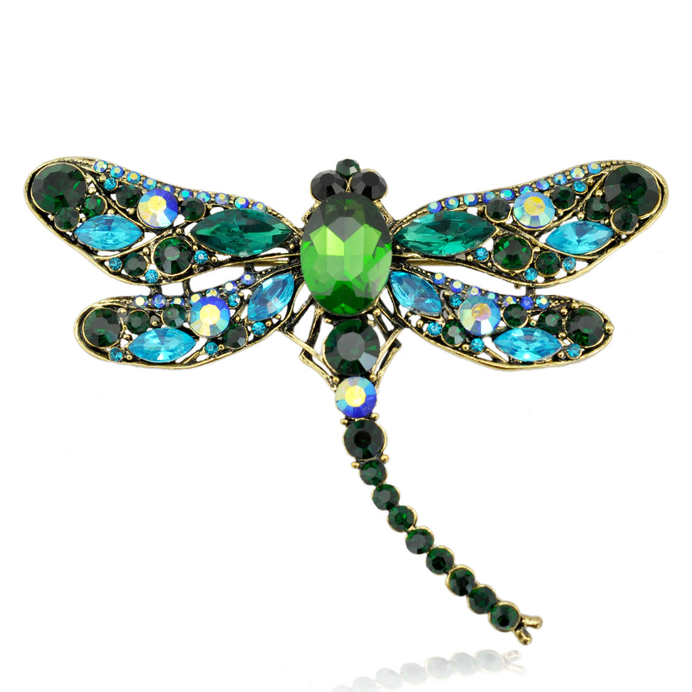 Vintage Style Big Rhinestone Crystal GREEN Dragonfly Brooch Pin Accessories Gift