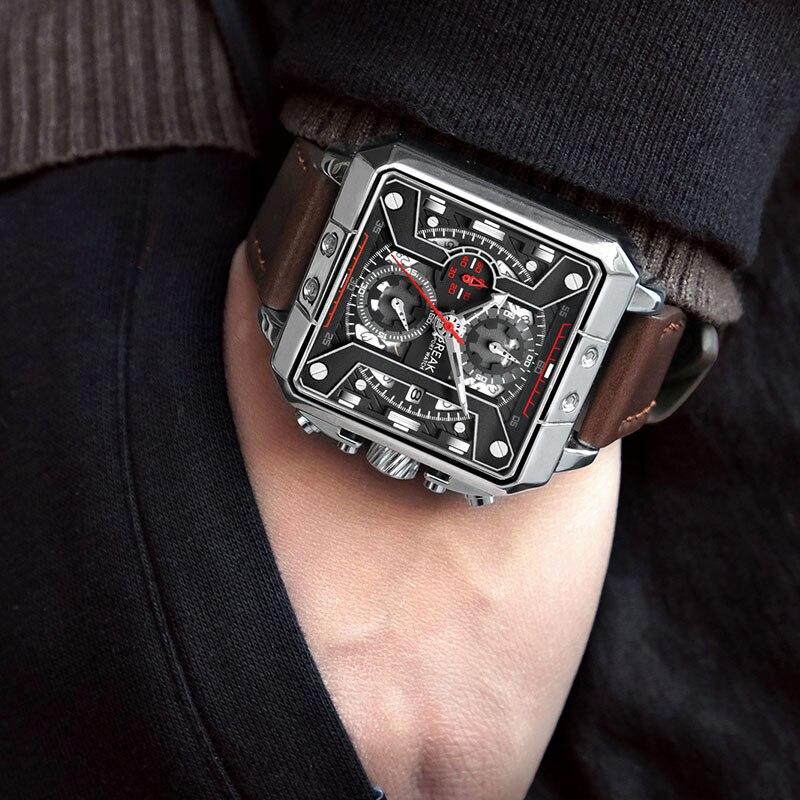 Montre-bracelet de BREAK Haut Marque Mode Hommes montres de sport Homme Véritable En Cuir Chronographe 2018 Cadeau montre-bracelet Pour Hommes Mâle Horloge