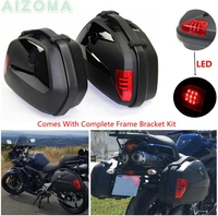1 Pair 20L Side Pannier Luggage Box w/ LED Motorcycles Cargo Storage Tail Case for Kawasaki Triumph Yamaha Tracer 700 900 08 19