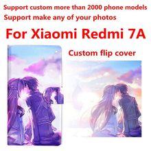 Bolsa de teléfono DIY personalizada Foto PU Funda de cuero con tapa abatible para Xiaomi Redmi 7A