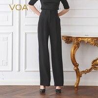 VOA Classic Matte Black High Waist Plus Size Silk Trousers Women Office Ladies Basic Straight Pants Dames Broeken Bottoms K2760