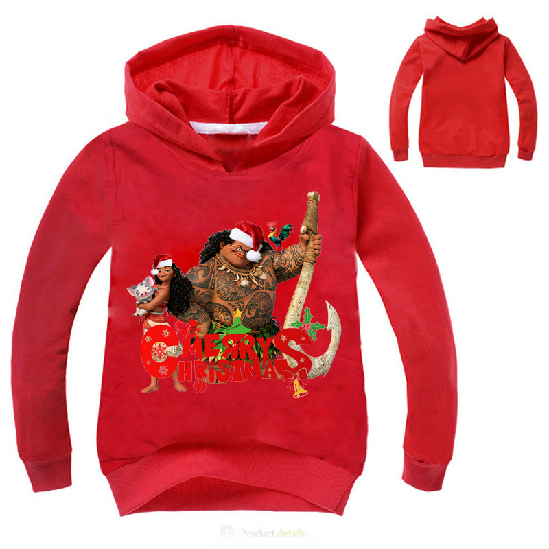 Z&Y 3-16Years Fantasia Moana Maui Clothes Merry Christmas Jumper Girls Cardigan Manteau Fille Baby Boy Coat Toddler Jacket H018