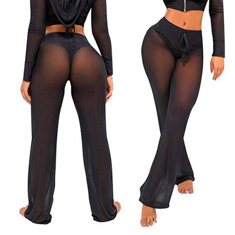hirigin 2018 Sexy Women Bikini Cover-Up Pants Mesh See-Through Beachwear Swimwear Swimsuit Bathin Suit Long Pant Trousers