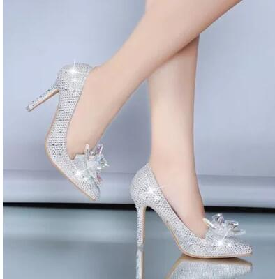 White diamond wedding shoes Pointed Toe High Heels Cinderella ...