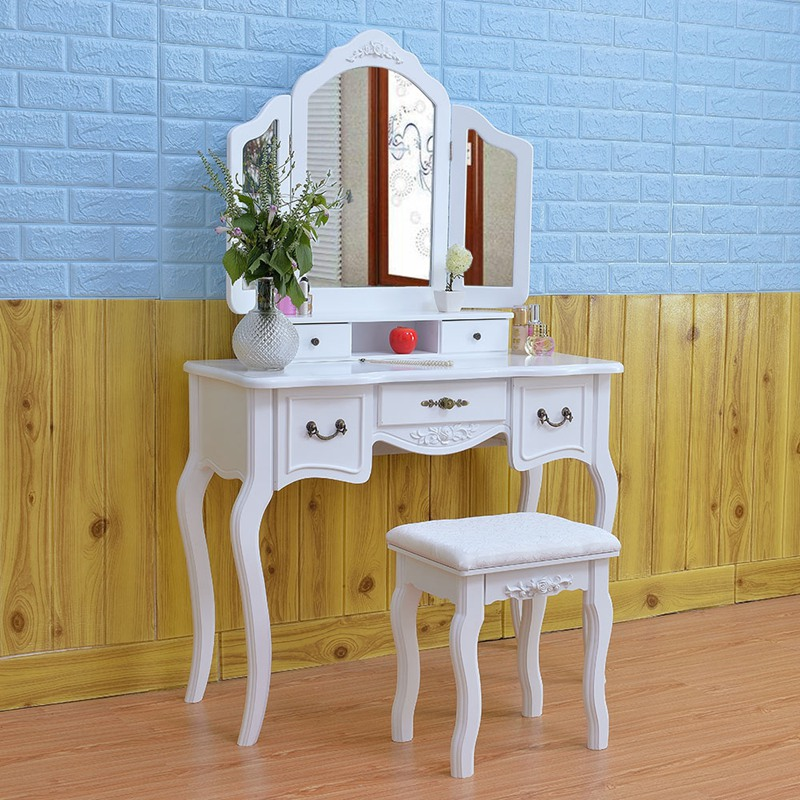 Wooden Dressing Table Makeup Desk with Stool Tri-fold Mirror 5 Drawers White Bedroom Furniture Dropshipping ship from germany makeup dressing table with stool 7 drawers adjustable mirrors bedroom baroque style