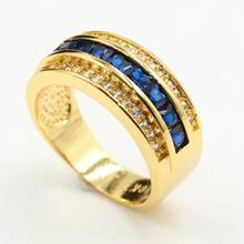 Nieuwe Prachtige Vintage Sieraden 10KT Gold Vul Princess Cut Blue 5A Zirconia Eternity Wedding Party Band Ring voor Mannen gift(China)