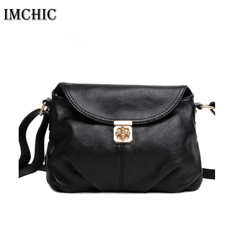 IMCHIC 2017 Women Messenger Bags Genuine Leather Cowhide Lock Hobo Woman Casual Classic Shoulder Crossbody Ladies Handbags 1212