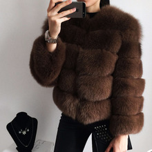 Tatyana furclub Women Warm Real Fox Fur Coat Short Winter Genuine Jacket Outerwear Overcoat Natural Coats for Girls