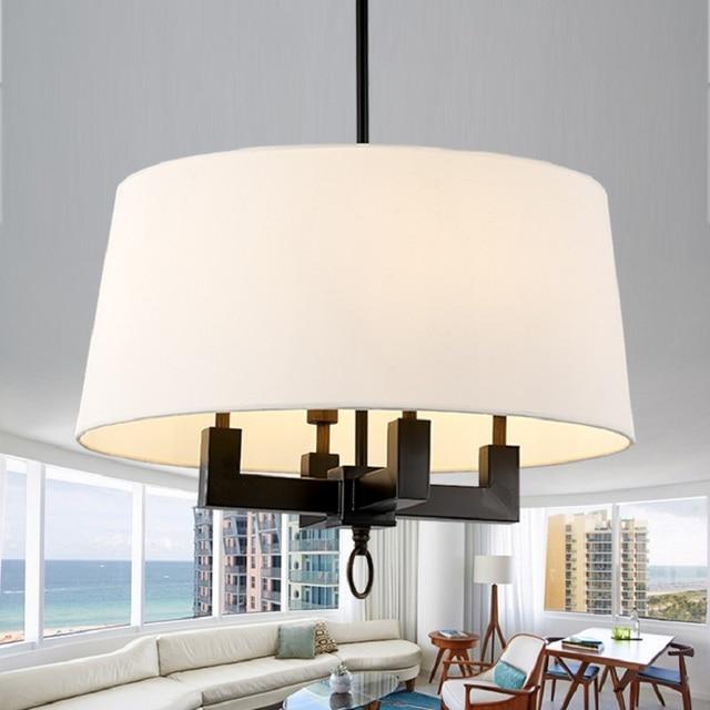 Lieblich Pastoralen Nordic Amerikanischen Stil Retro Nostalgie Stoffschirm Schwarz  Eisen Pendelleuchte Wohnzimmer Esszimmer Hängende Beleuchtung