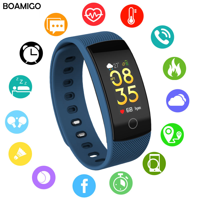 BOAMIGO font b smart b font watches bluetooth font b Smart b font Bracelet Wristband Heart