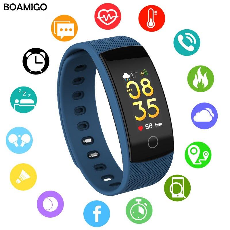 BOAMIGO montres intelligentes bluetooth bracelet connecté Bracelet Coeur Taux rappel de message Surveillance Du Sommeil pour IOS Android téléphone