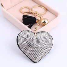 ZOSHI Cute Heart Pendant Key Chain Gold/Silver Rhinestone Tassel Car Keychain Fashion Key Ring Holder Accessories Gift