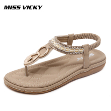 MISS VICKY 2019 New Summer Womens Sandals Flat Casual Outdoor Bohemian Beach