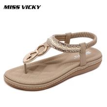 MISS VICKY 2019 New Summer Women's Sandals Flat Casual Outdoor Bohemian Beach Sandals vladimir ross miss lala sandals