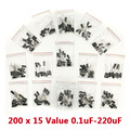 NEW 200 x 15 Value Electrolytic 20% Capacitor Assortment Kit 0.1uF - 220uF Free Shipping