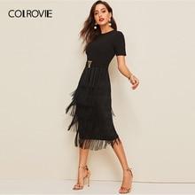 COLROVIE czarny metalowy guzik szczegółowo warstwowe frędzle sukienka ołówkowa kobiety 2019 lato efektowne Bodycon panie szczupła sukienka z wysokim stanem