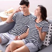 Lovers Sleepwear Summer Cotton Short-sleeve 100% Women's Summer Casual Cotton Brief 100% Male Lounge Sleepwear